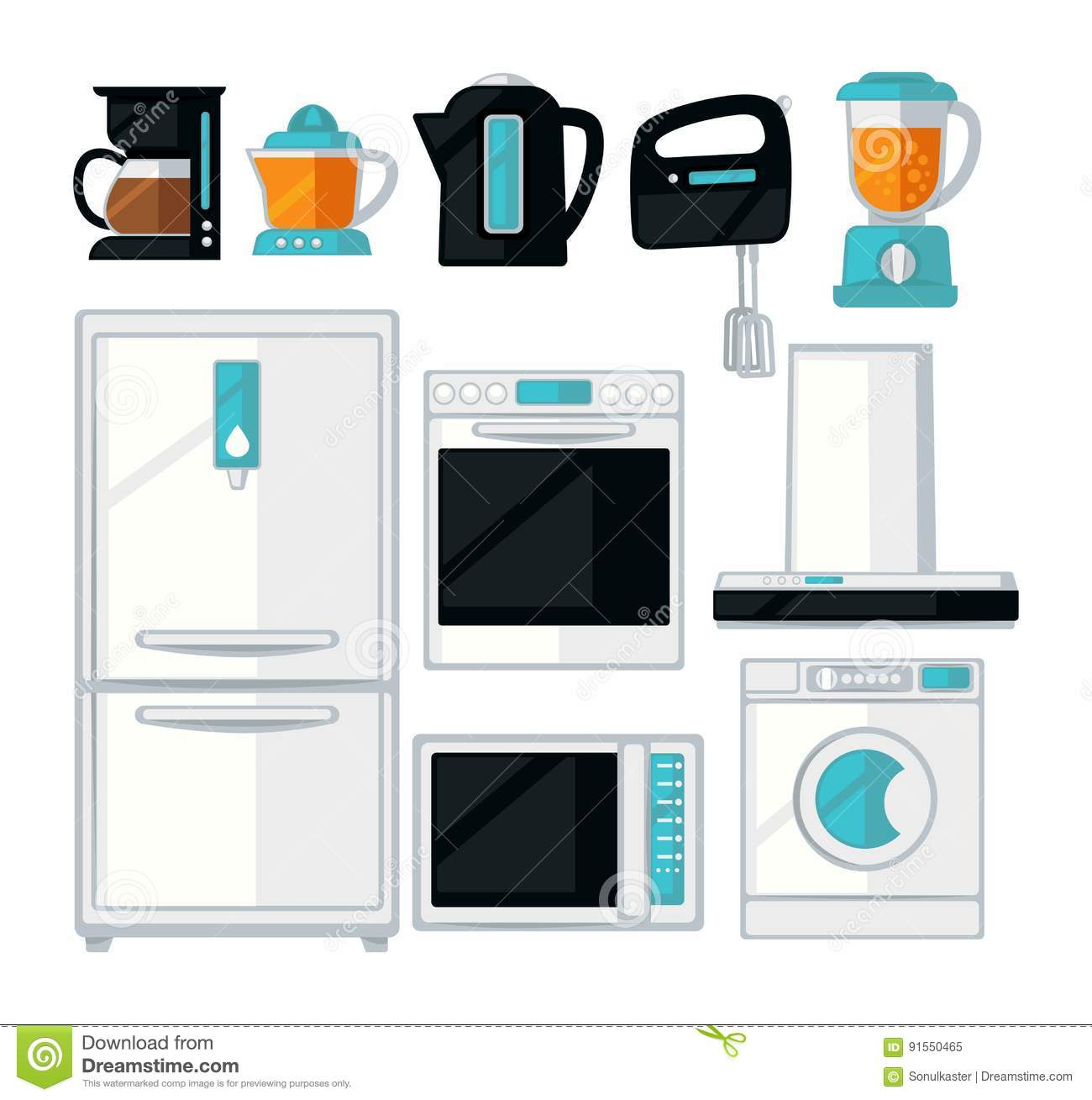 Home Kitchen Cooking Appliances Vector Flat Icons Set Stock