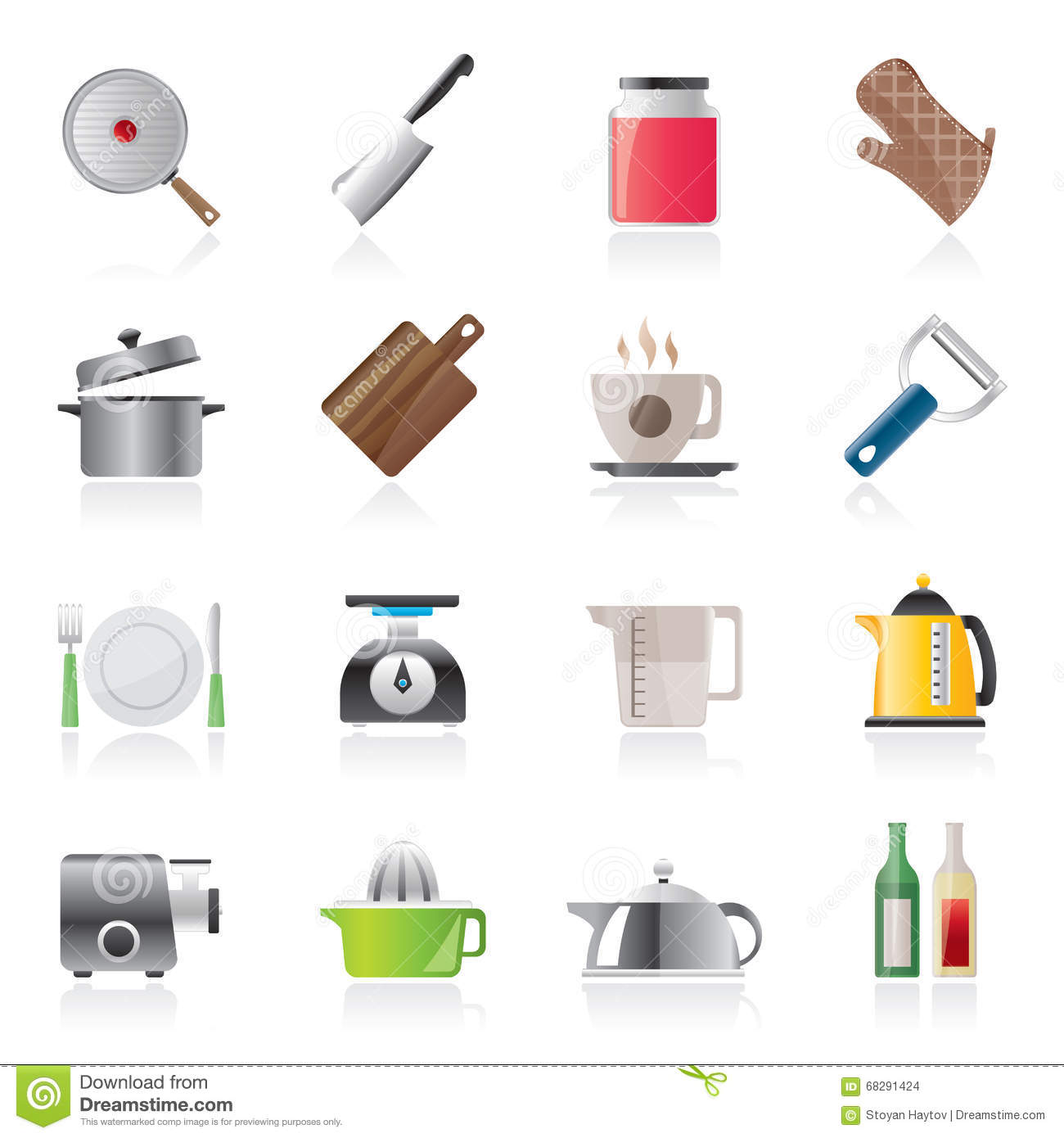 Home Kitchen Equipment Home Kitchen Equipment Icons Illustration 68291424  Megapixl