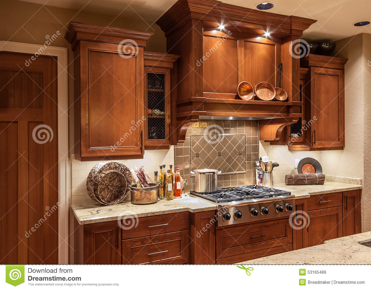 Home Kitchen Stove Top Range And Cabinets In New Luxury House Stock I