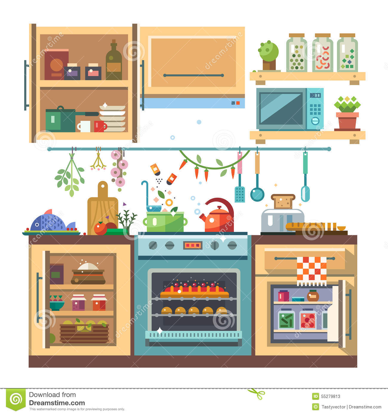 Home Kitchenware Stock Vector. Illustration Of Color