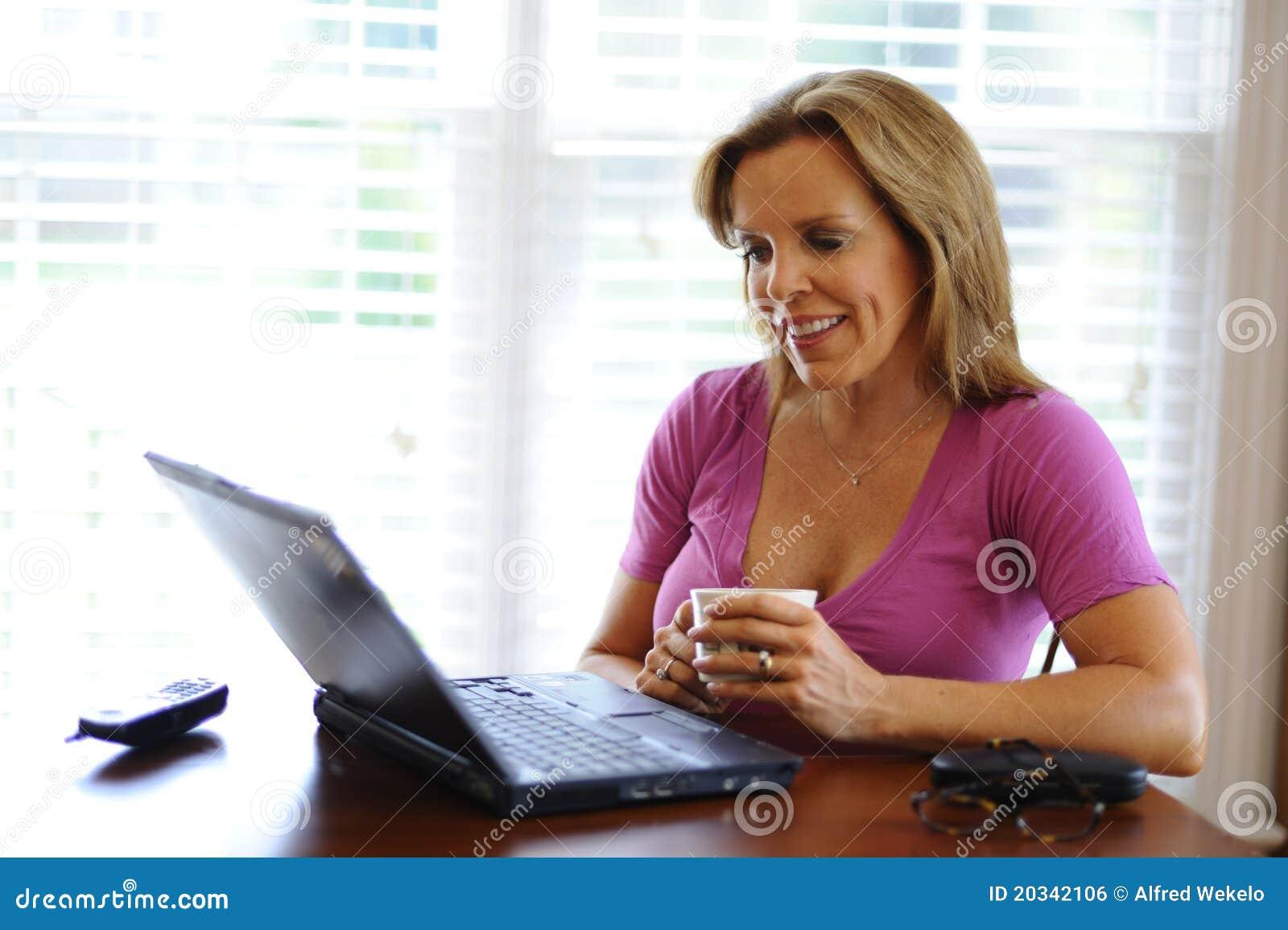 Home kvinnaworking för affär