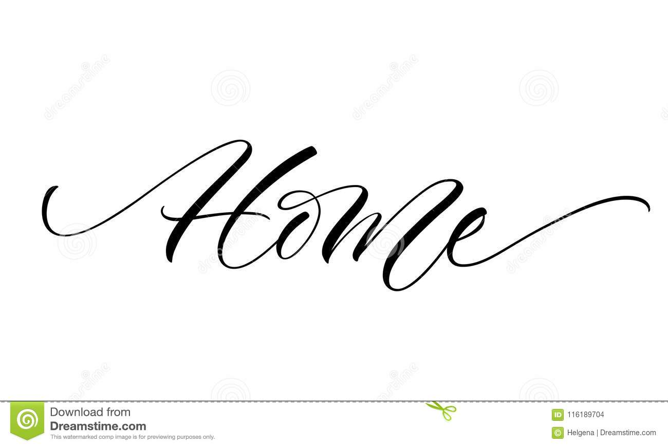 home lettering stock vector. illustration of cozy, calligraphy