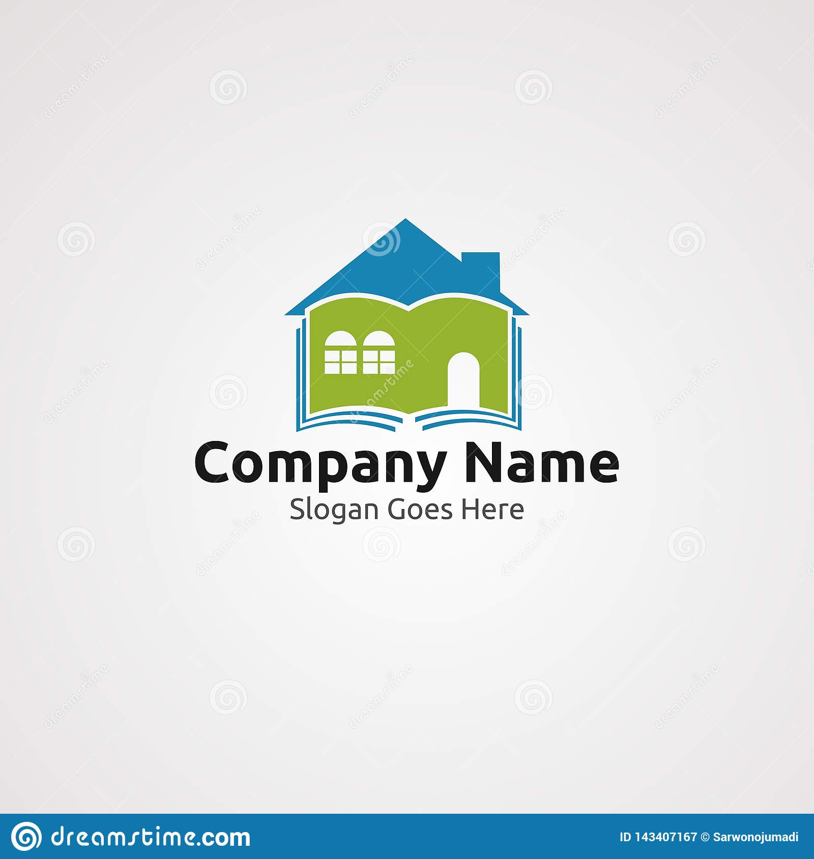 Home library logo vector, icon, element, and template for company