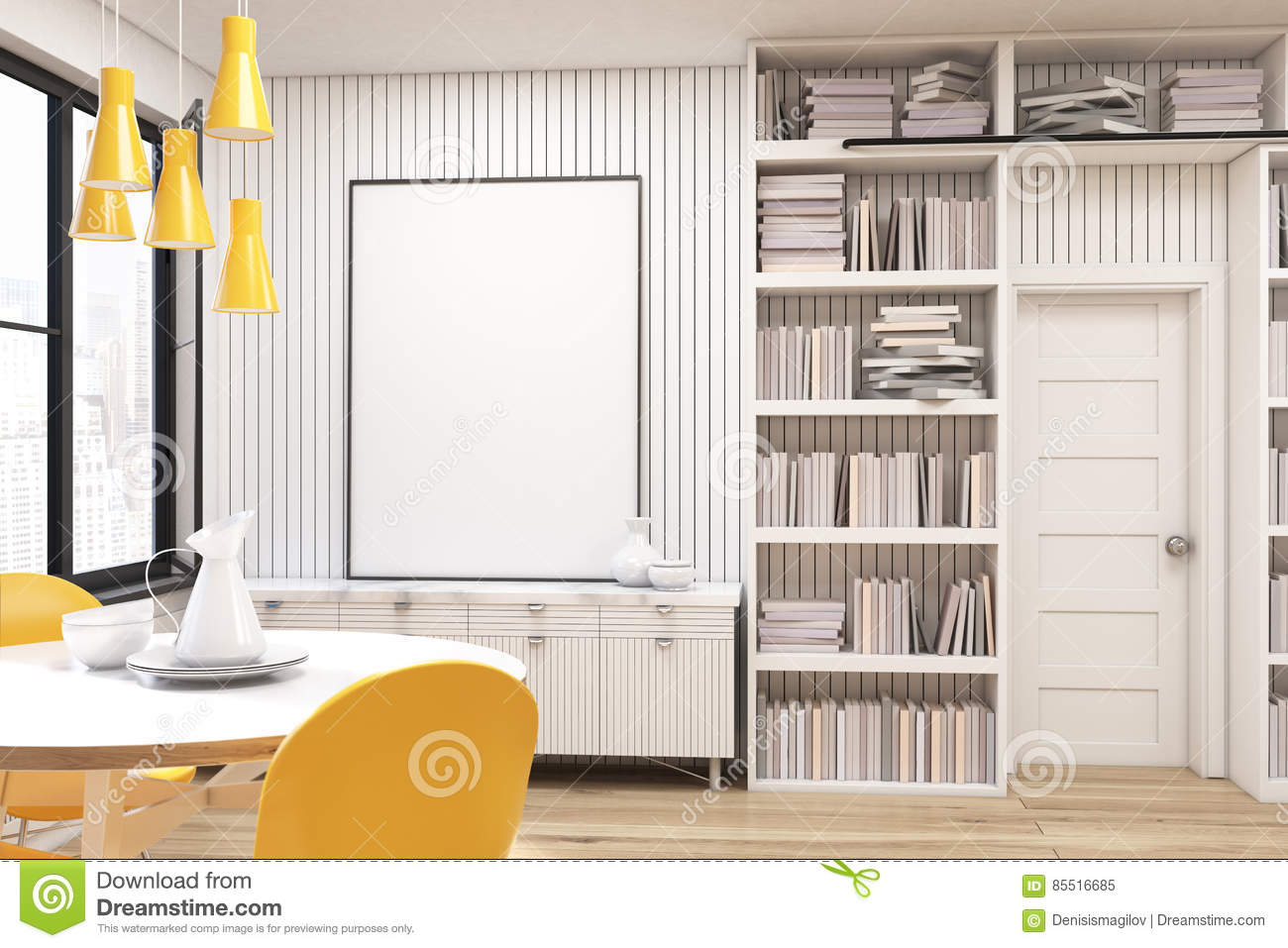 Home Library With A Round Table Stock Image - Image of ...