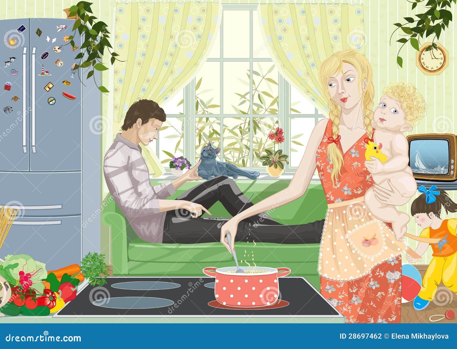 home life vector illustration 28697462. Black Bedroom Furniture Sets. Home Design Ideas