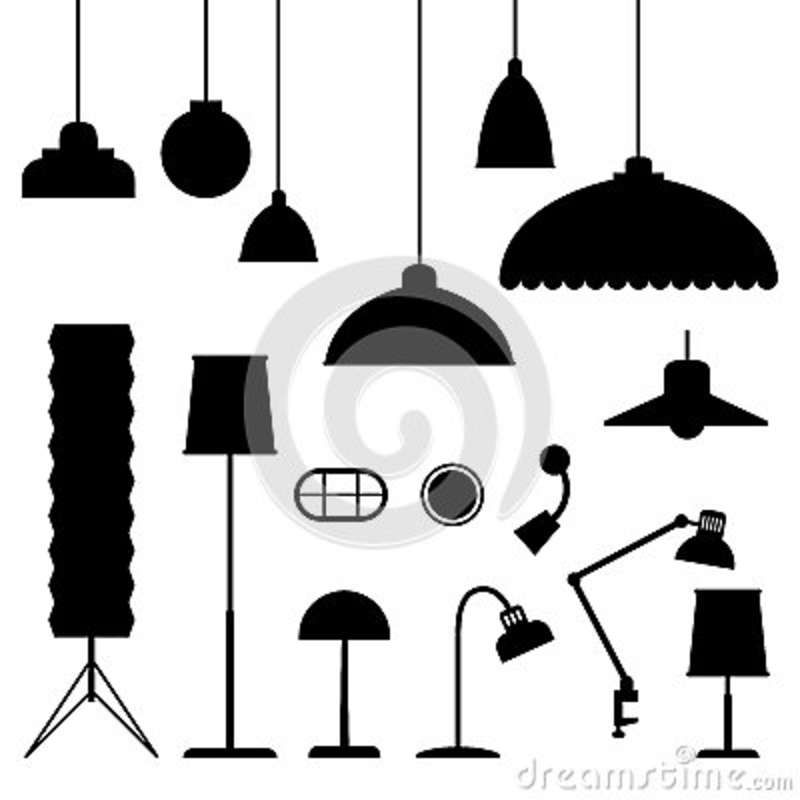 Black Ceiling Lamp Royalty Free Vector Image: Home Light Silhouettes. Stock Vector. Illustration Of