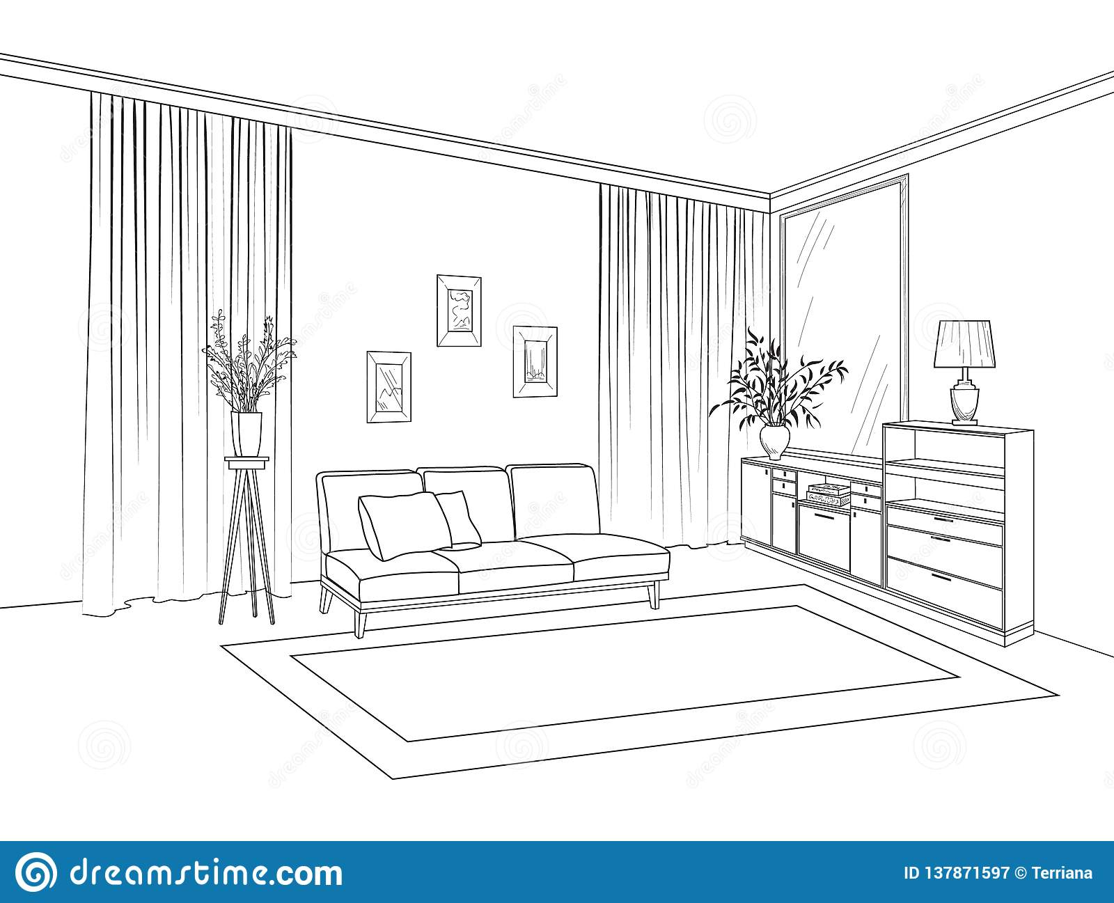 Home Living Room Interior Outline Sketch Of Furniture With Sofa