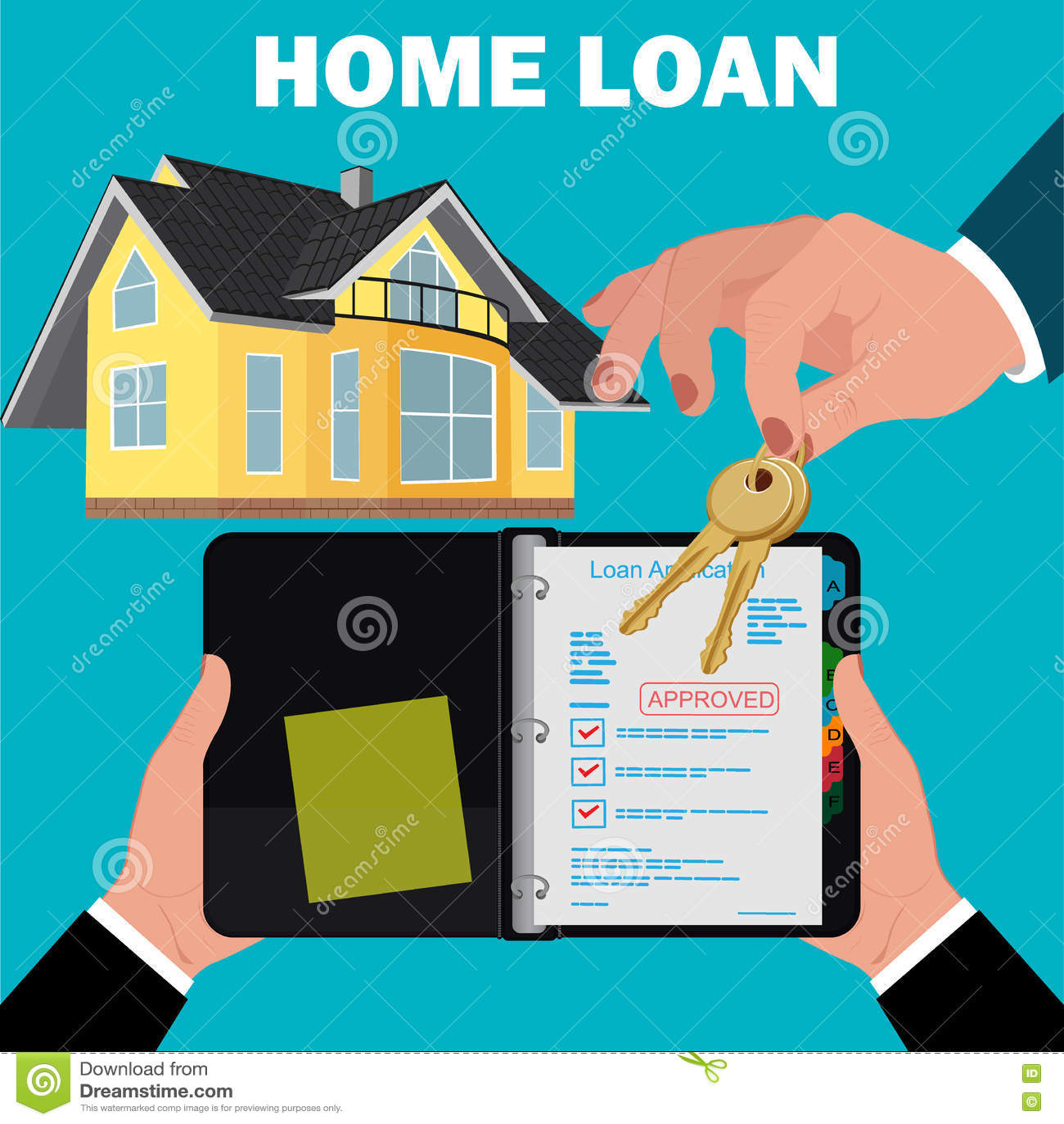 Home Loan Application Concept, Mortgage, Flat Design, Vector Illustration Stock Vector ...