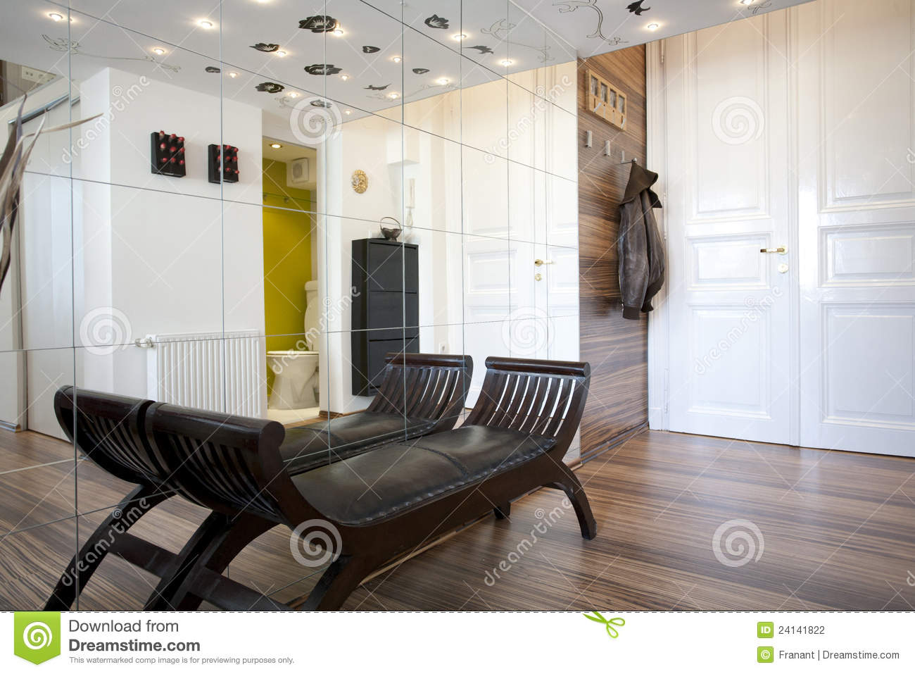 Interior Design Modern Furniture On White Wall Stock Image ...