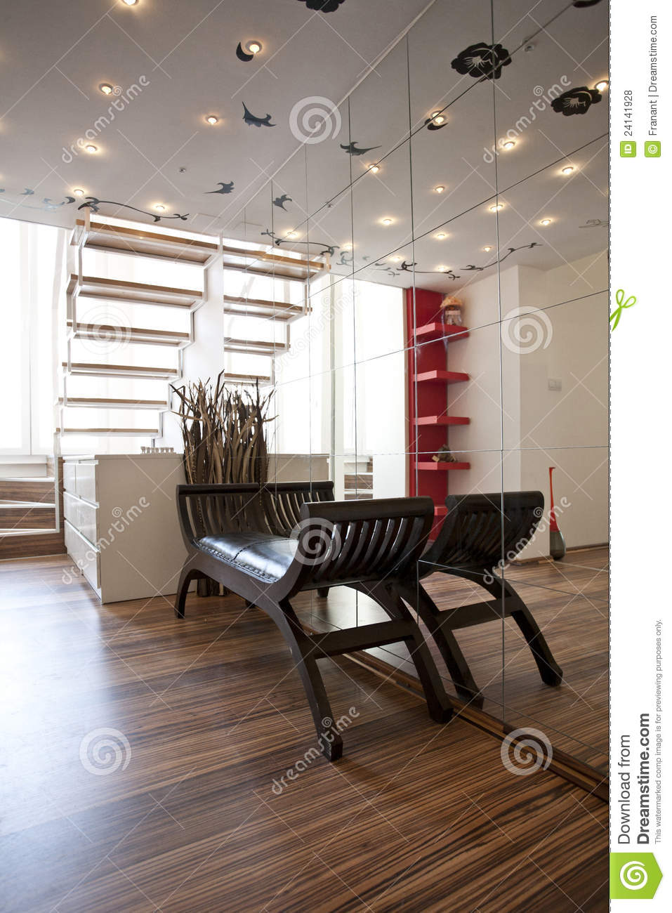 home lobby interior design stock photo image of mirrors 24141928. Black Bedroom Furniture Sets. Home Design Ideas