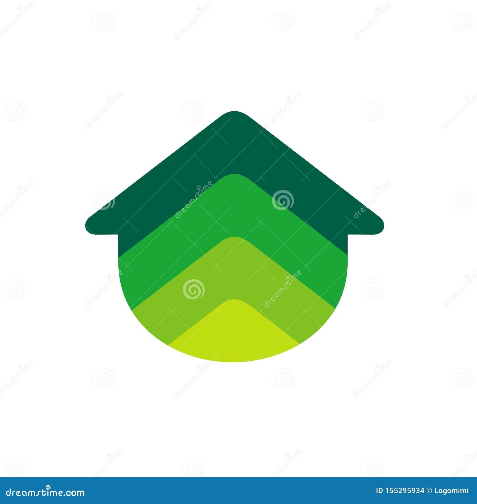 Home Logo Icon. Real Estate Logo in Colorful Gradient Design Concept. Green Color Vector Illustration