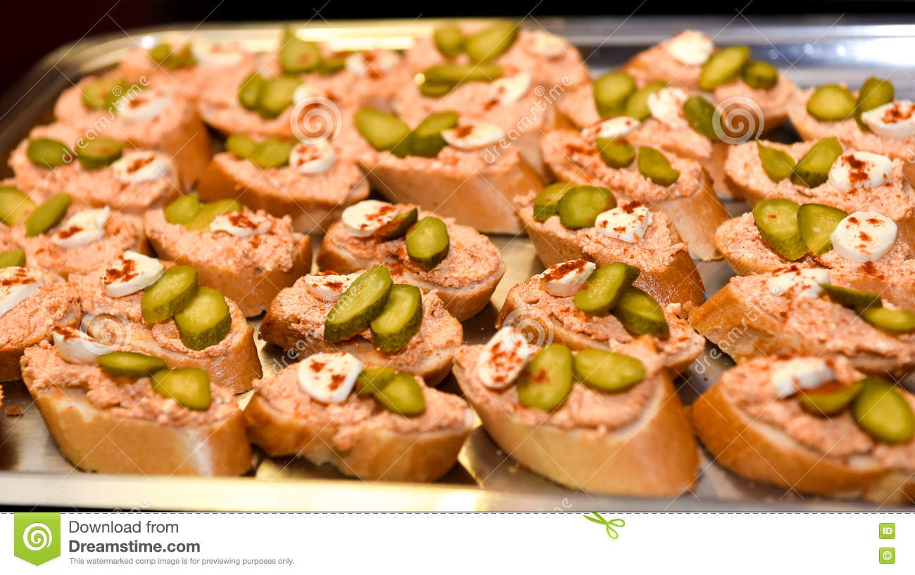 Home made canapes small sandwiches appetizers stock photo for Canape party menu