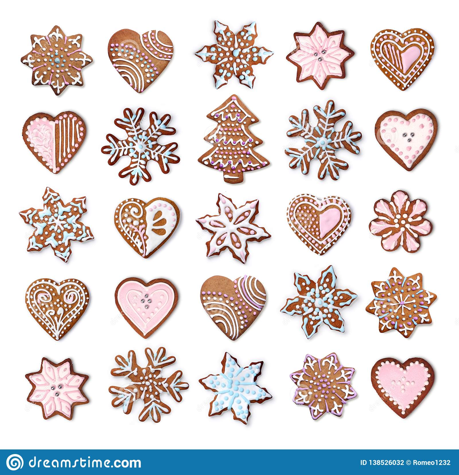 Christmas gingerbread cookies collection set isolated