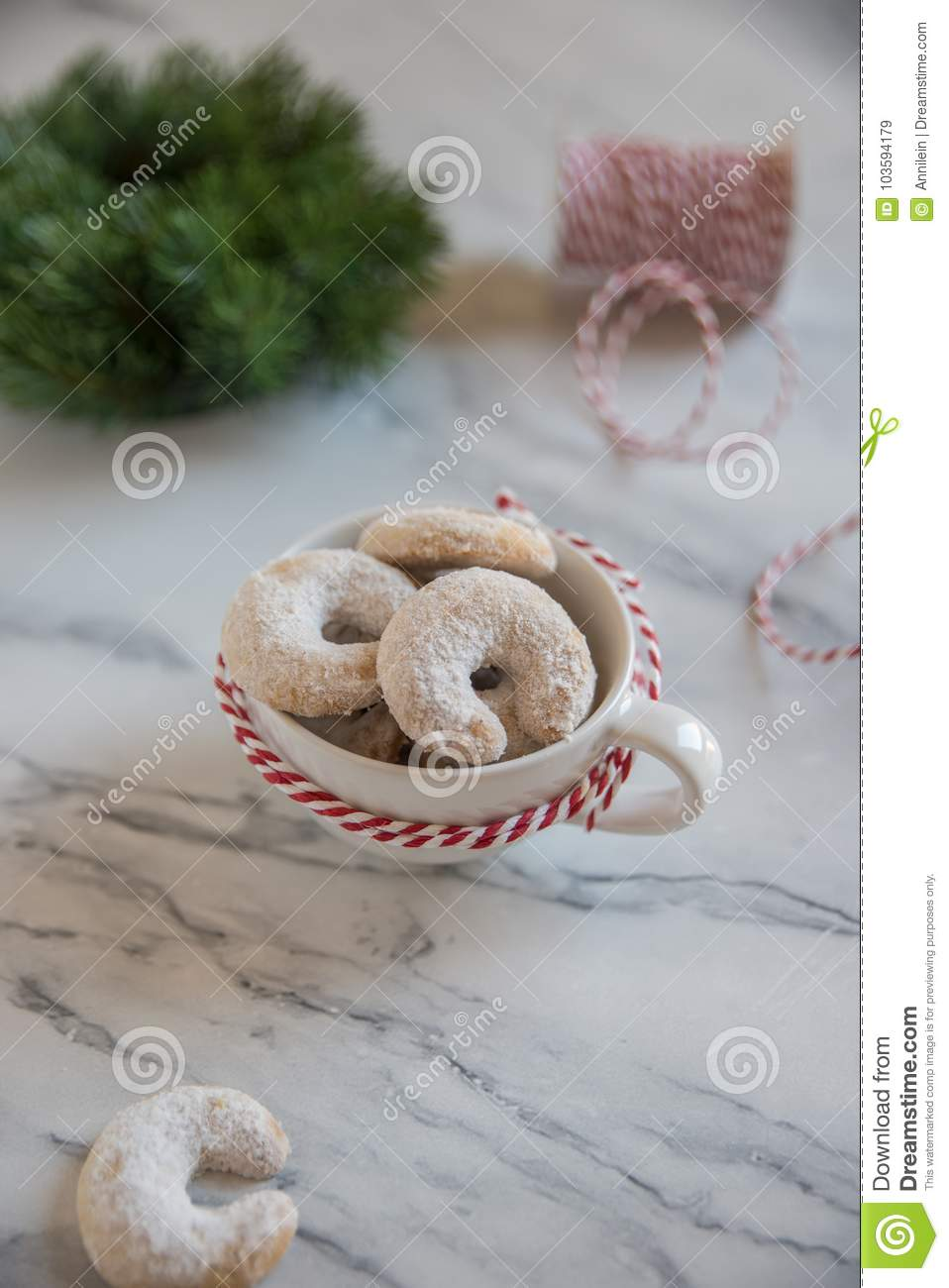 Christmas Nut Crescent Vanilla Cookies Stock Image Image Of Almond