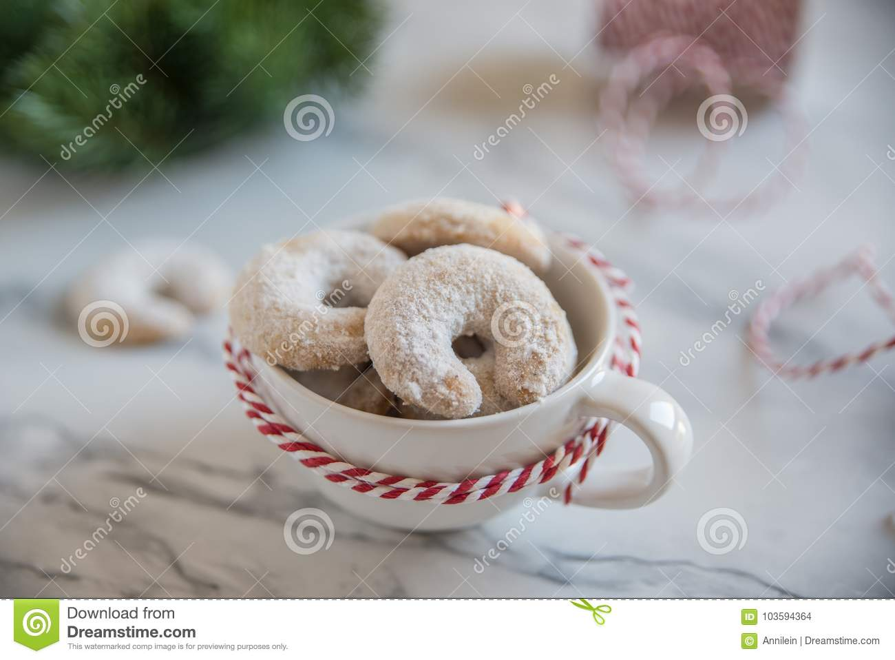 Christmas Nut Crescent Vanilla Cookies Stock Photo Image Of