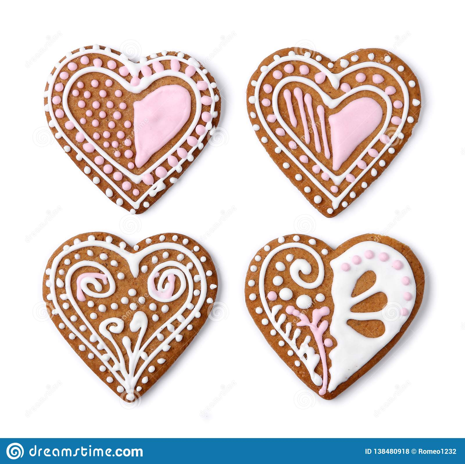 Home made gingerbread heart cookies