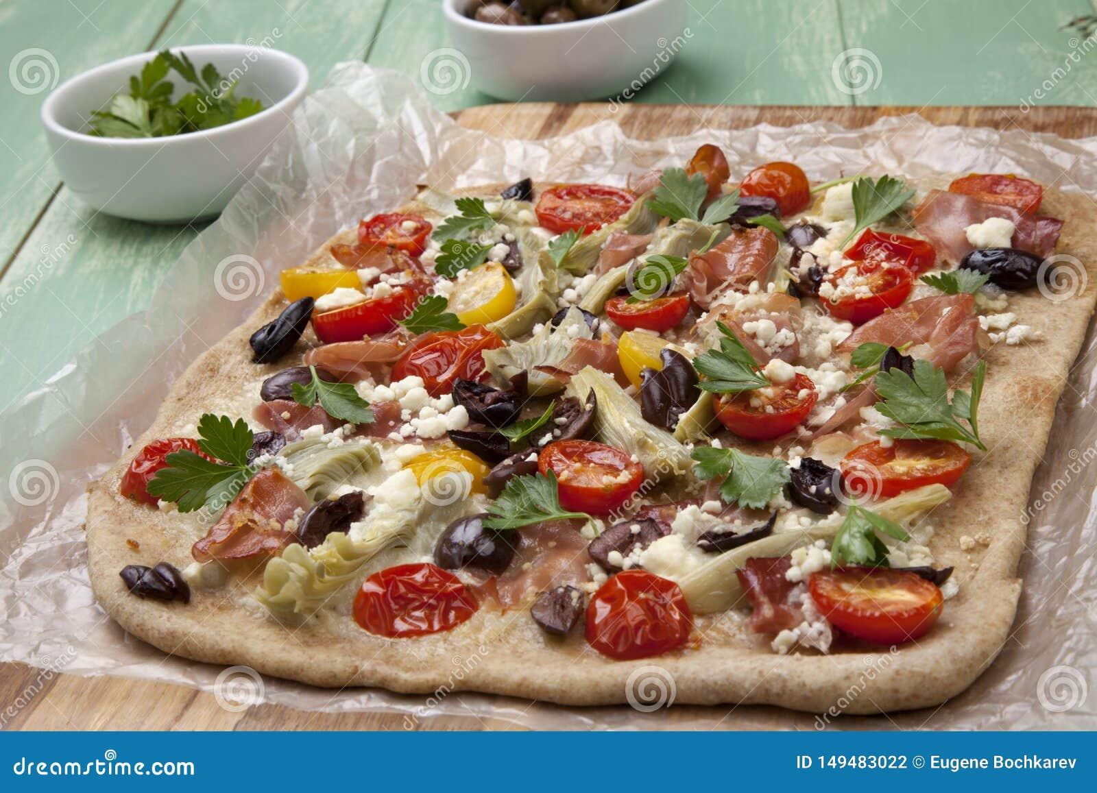 Home Made Mediterranean Prosciutto Flatbread