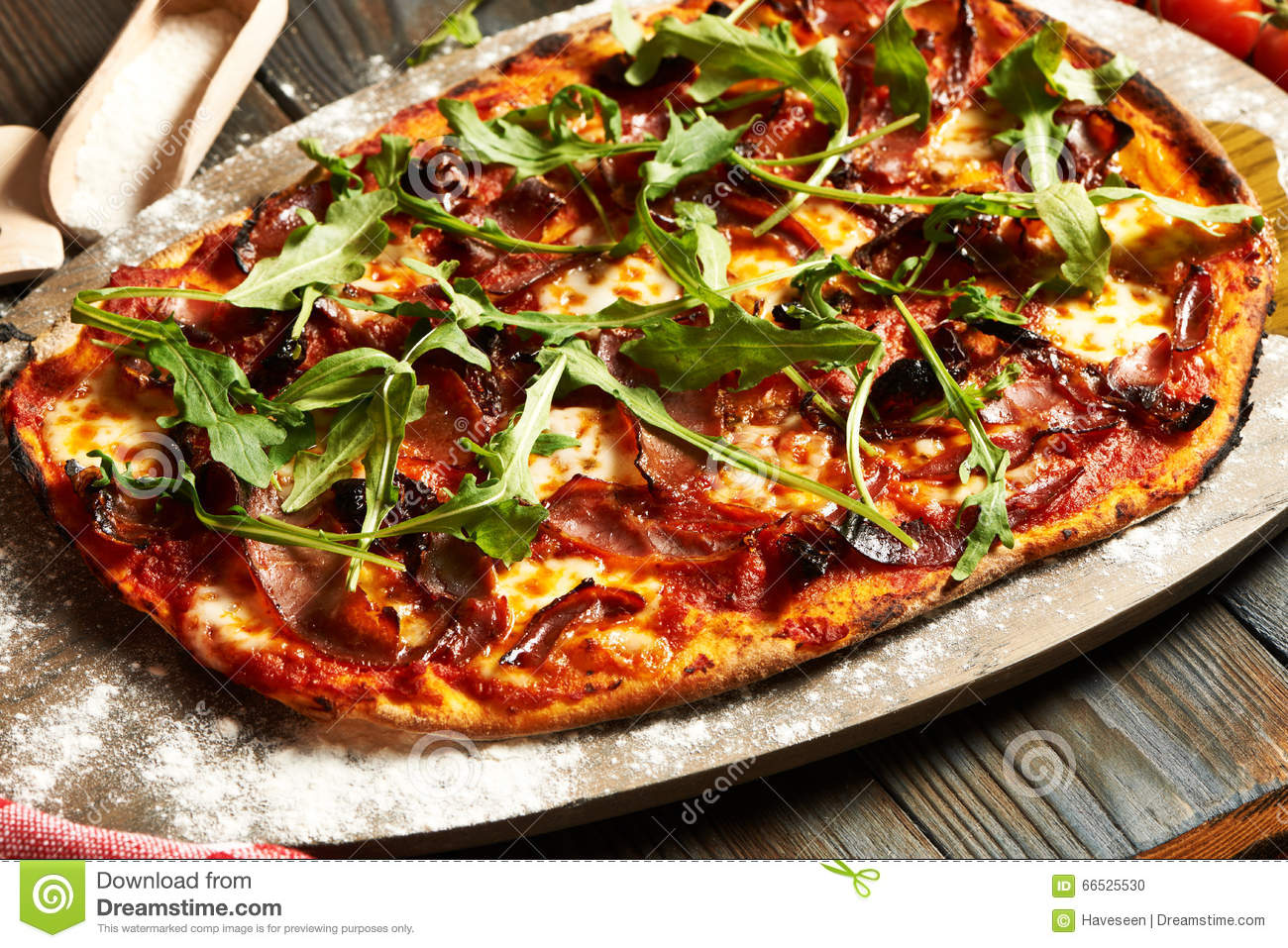 Home made pizza on wooden table stock photo image of for Table a pizza
