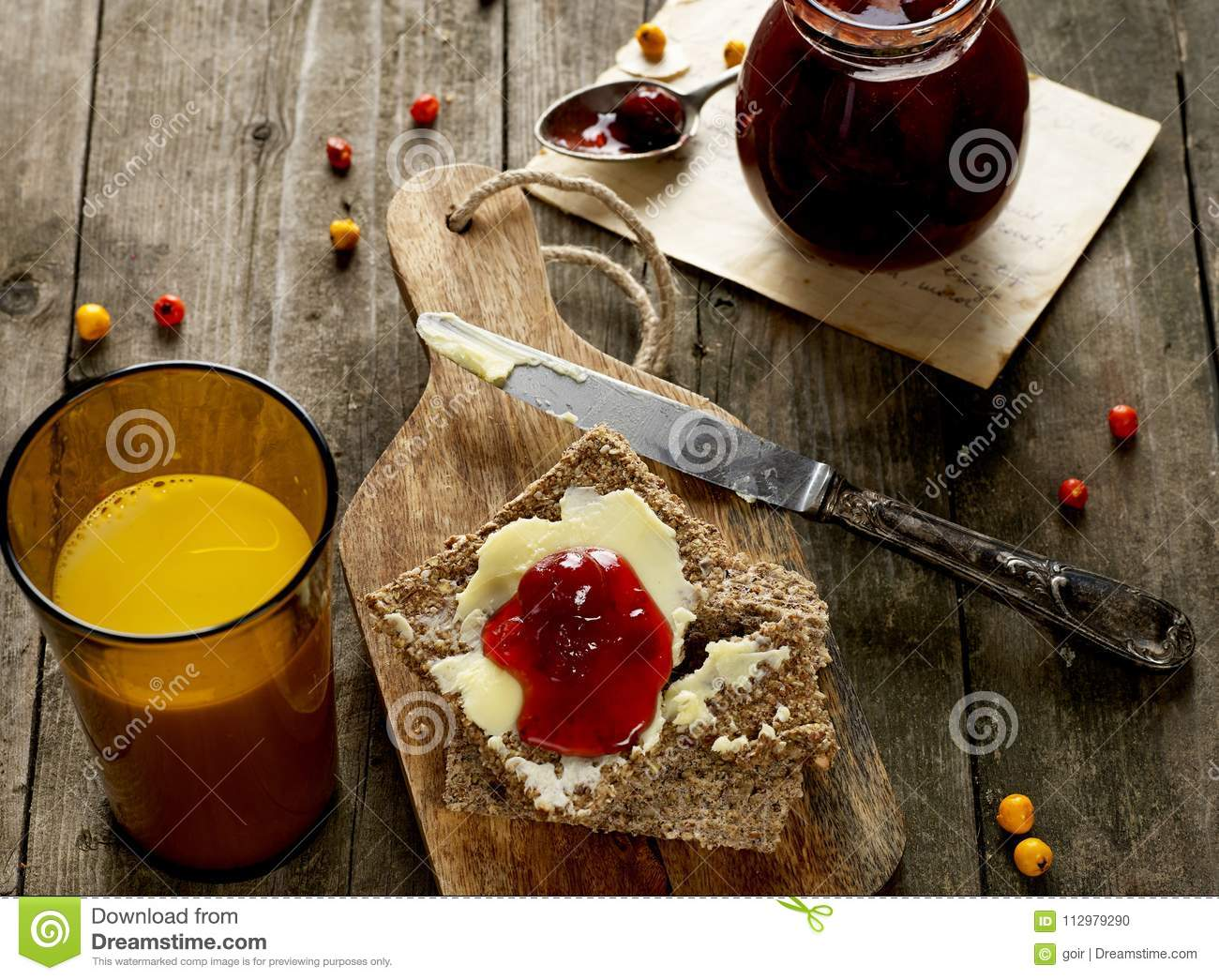 Milk, bread and jam