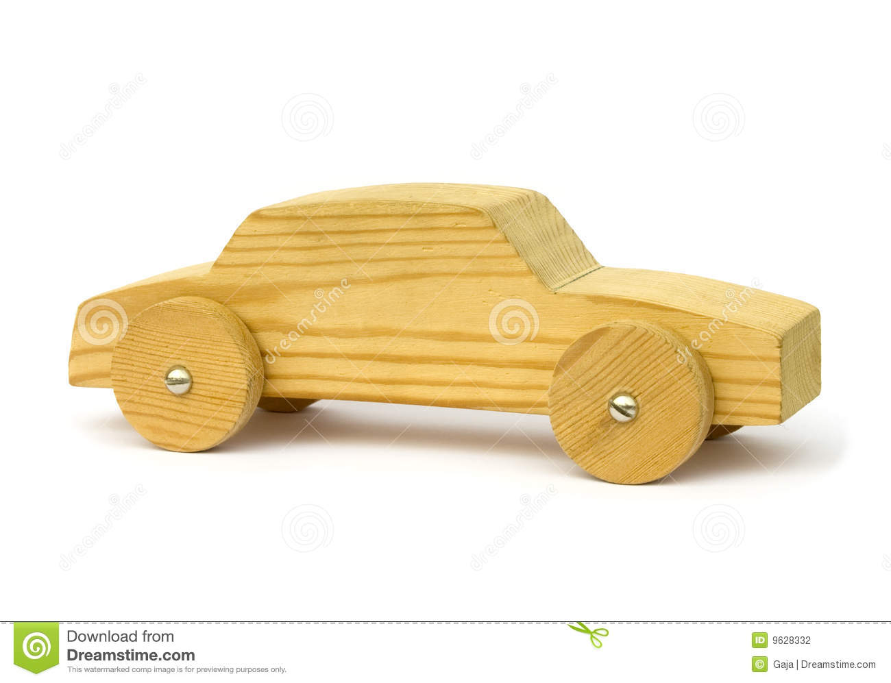 Simplistic home made wooden toy car.