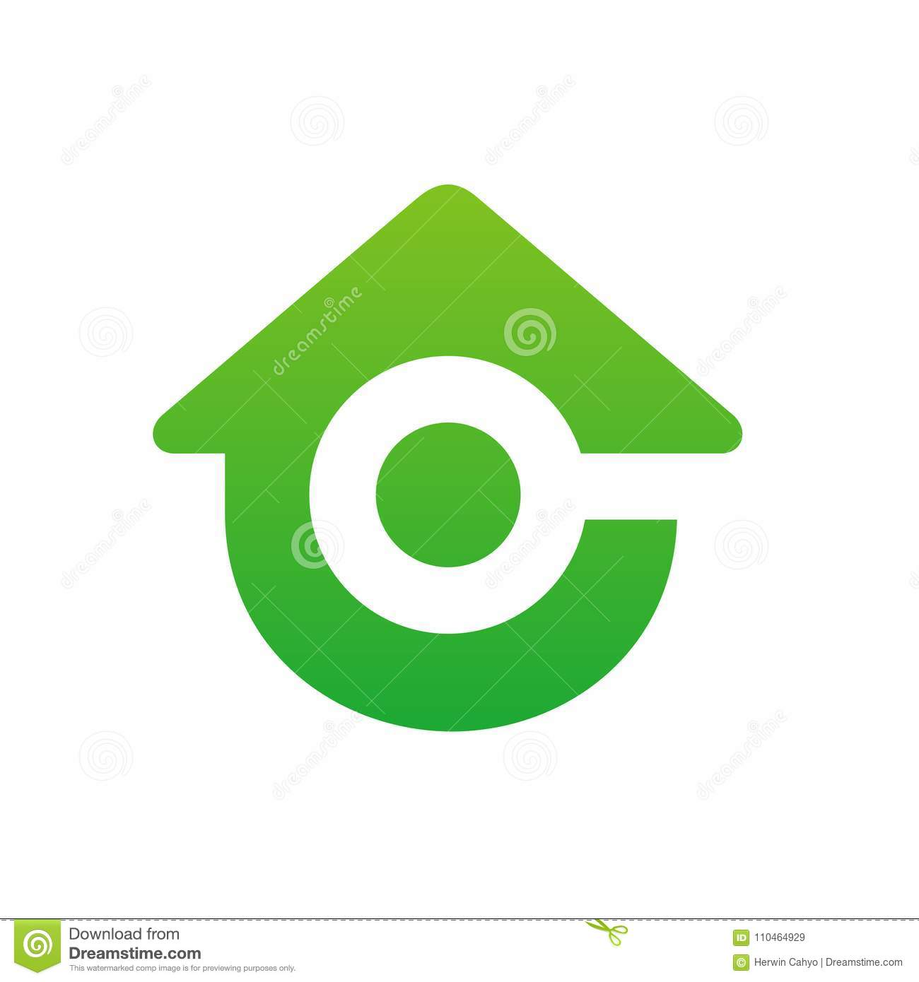 Home With Magnifying Glass Logo Initial Letter C Combined With Home