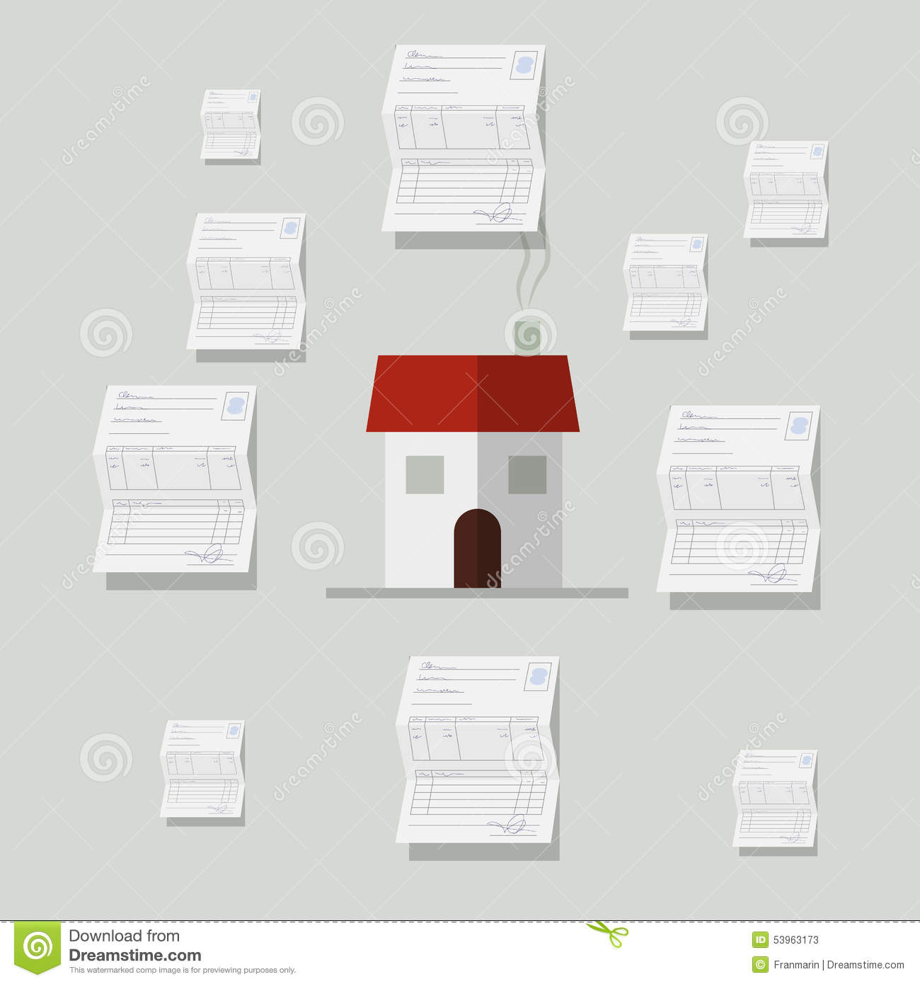 All Bills Paid Houses: Home With Many Bills Around Stock Illustration