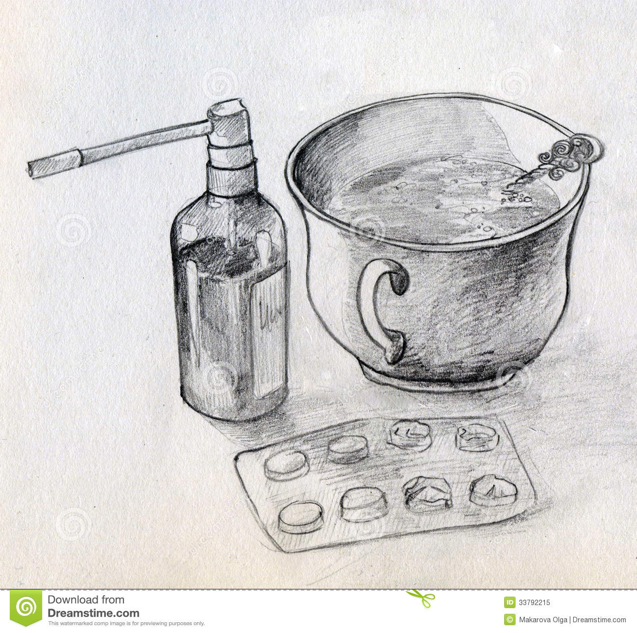 Home Medicine Still Life Stock Illustration. Image Of Objects - 33792215