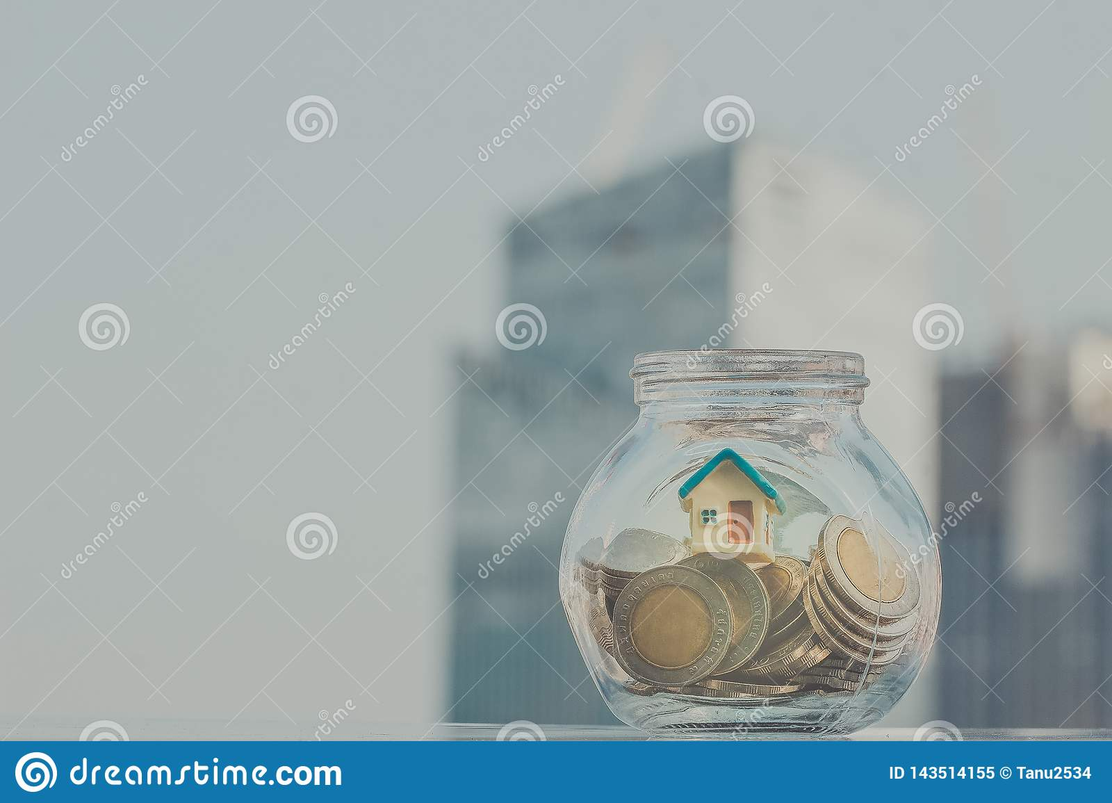 Home model put in the bottle. Business, financial, savings