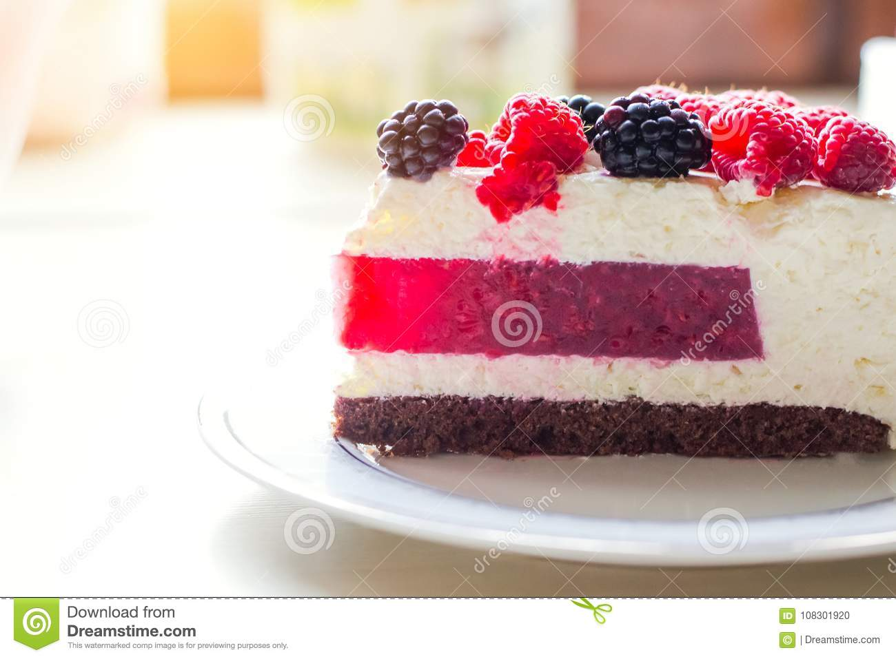 Home Mousse Cake With Cottage Cheese And Jello With Raspberries And