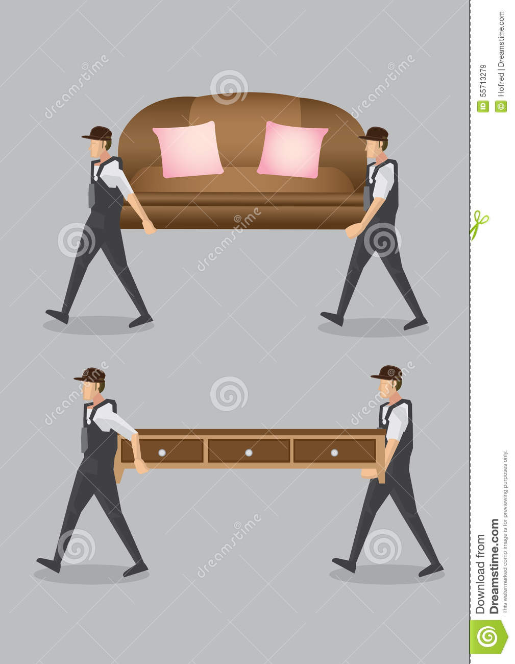 Royalty Free Vector  Download Home Movers Carrying Furniture. Home Movers Carrying Furniture Vector Cartoon Illustration Stock