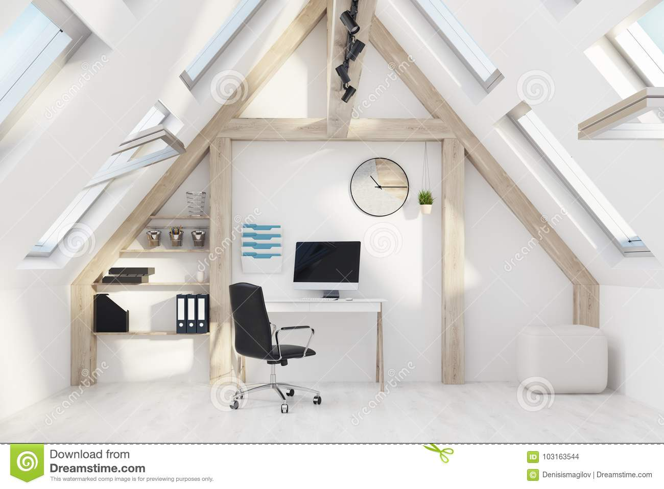 Home office in an attic stock illustration. Illustration of ...