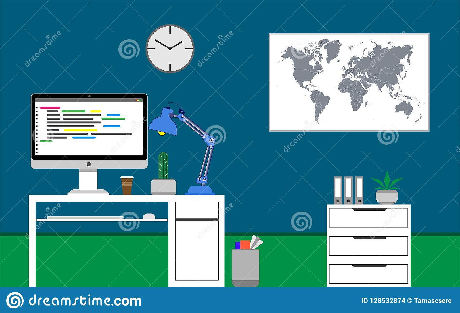 Home office concept. Java programming code on the monitor. Cactus on the desk. Vector illustration