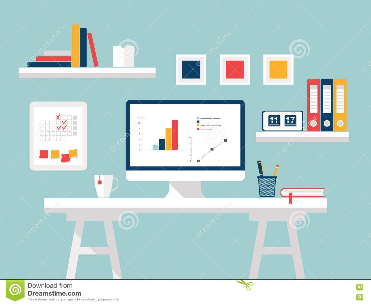 Home office flat design vector illustration of modern Computer office interior design