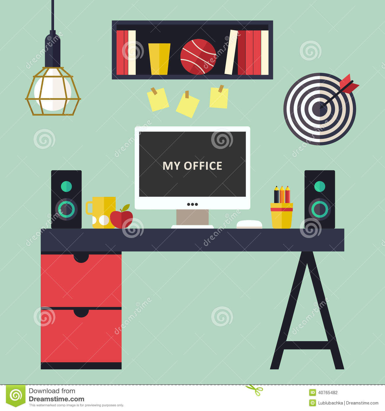 Home office flat interior vector illustration stock vector for Office design vector