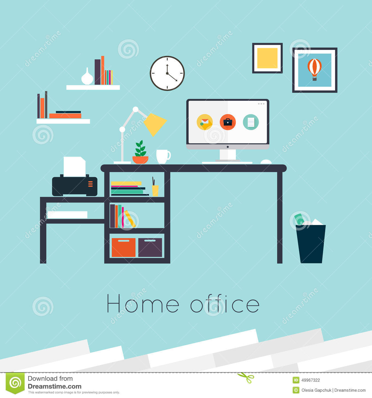 Home office stock vector image 49967322 for Office design vector