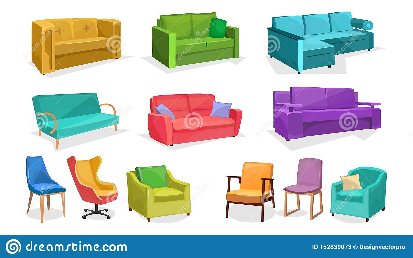 Home Or Office Furniture In Cartoon Style Isolated On White Background Vector Sofas Armchairs And Chairs Set Home Interior Stock Vector Illustration Of Game Fabric 152839073