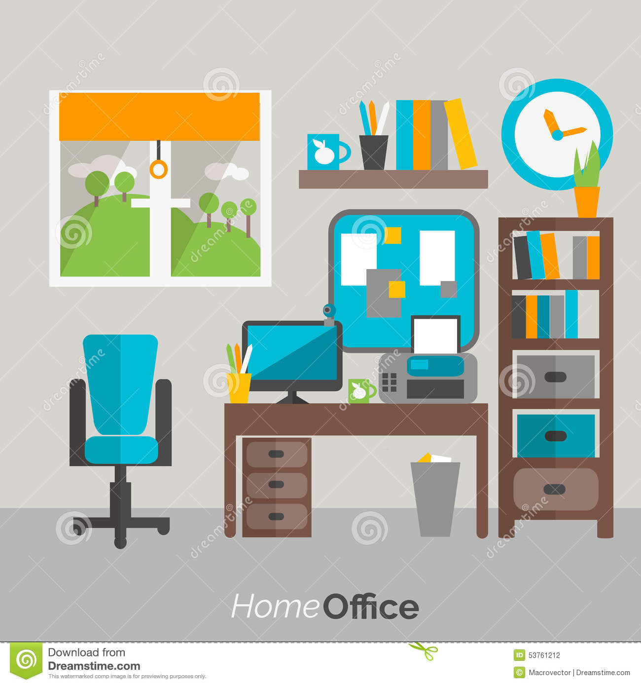 Amazing Home Office Furniture Icon Poster Stock Vector Download Free Architecture Designs Embacsunscenecom
