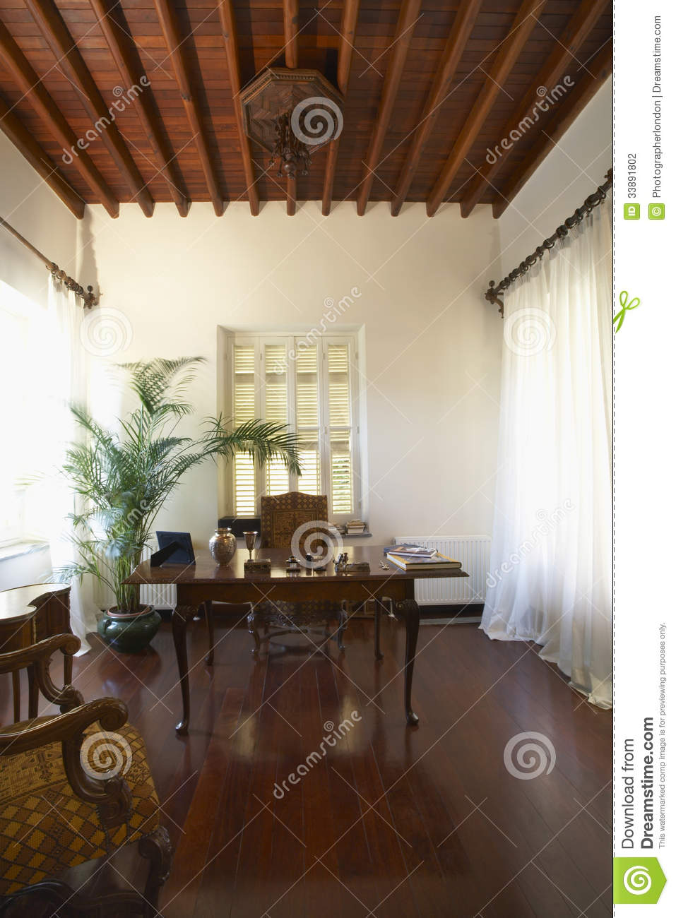 Home Office On Hardwood Floor Stock Photo Image 33891802