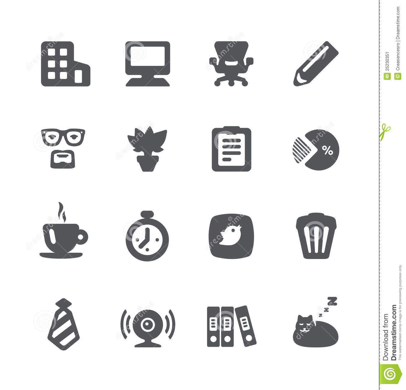 home office icon set stock vector  image of stopwatch