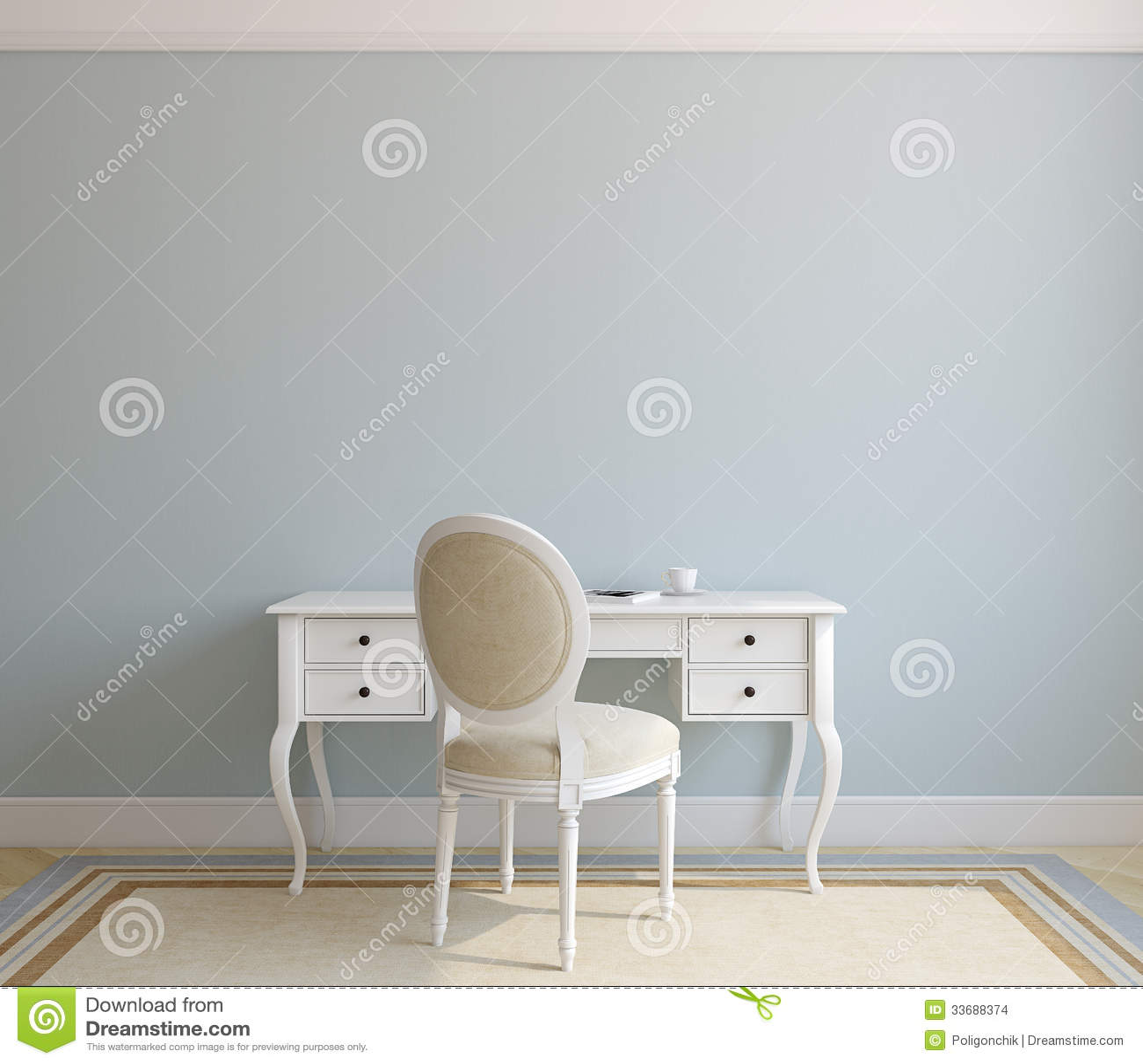 Home office interior vector illustration 55957852 - Beautiful home office interior ...