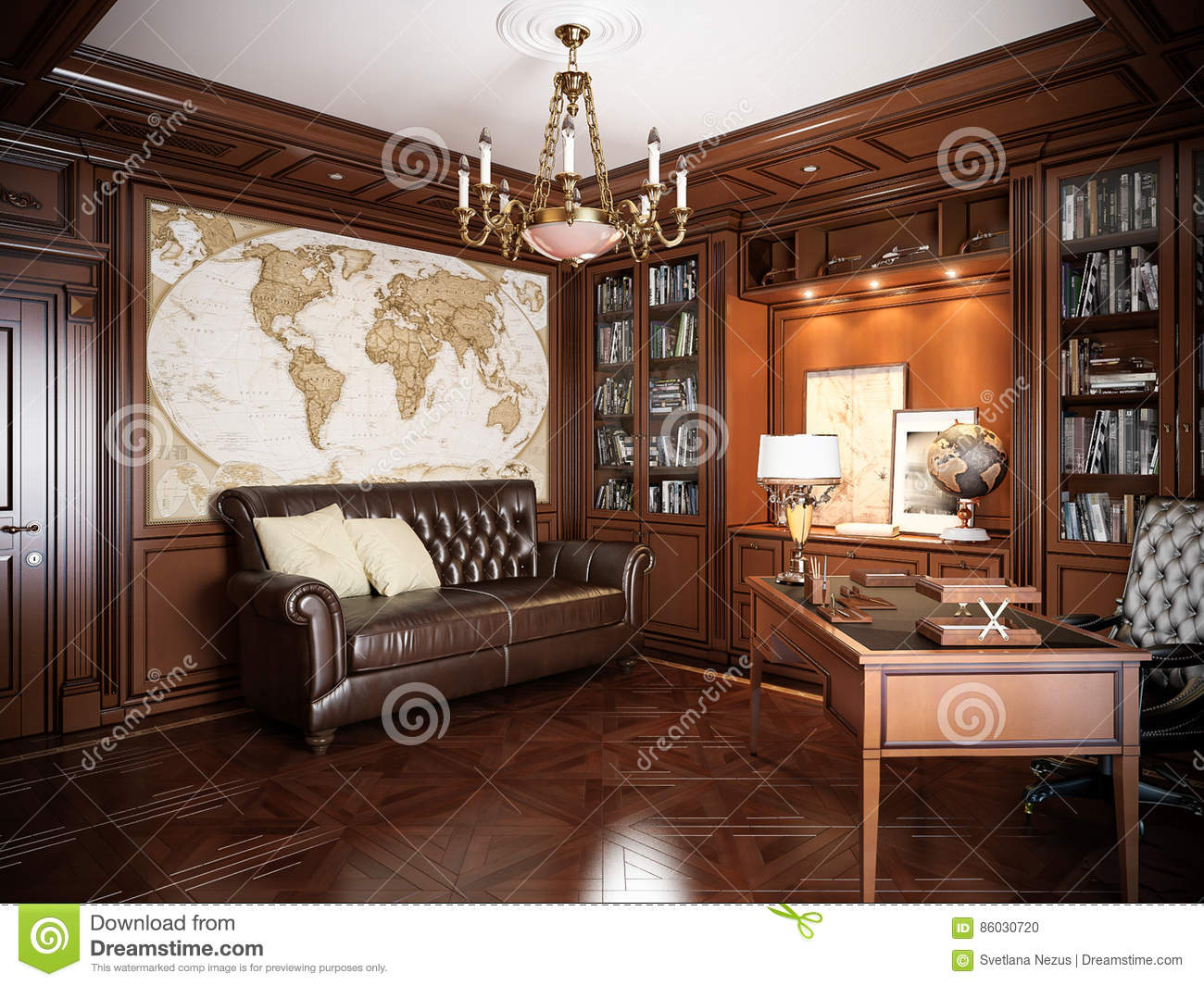 home office interior design in classic style stock photo image of