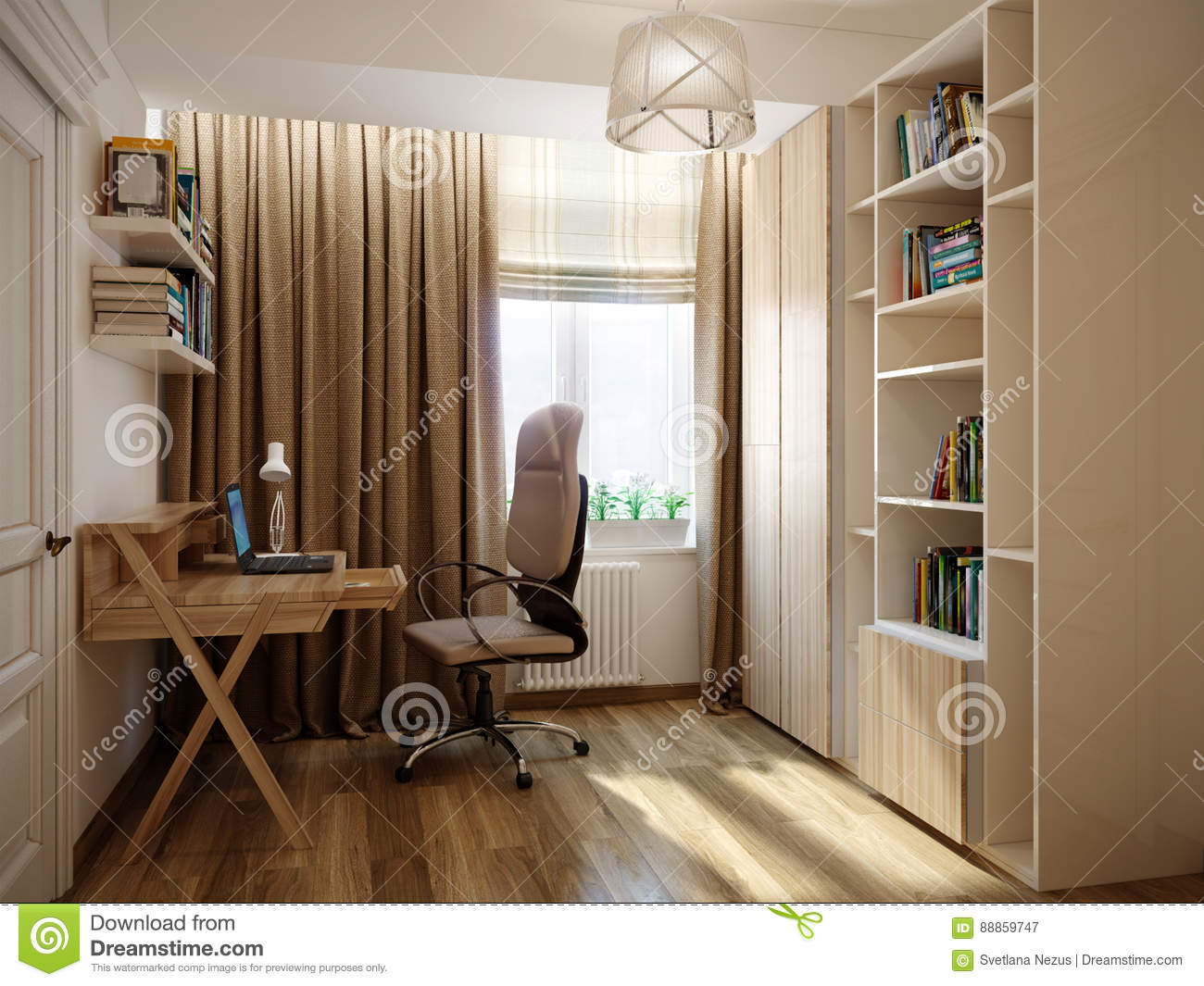 Home office interior design in classic style
