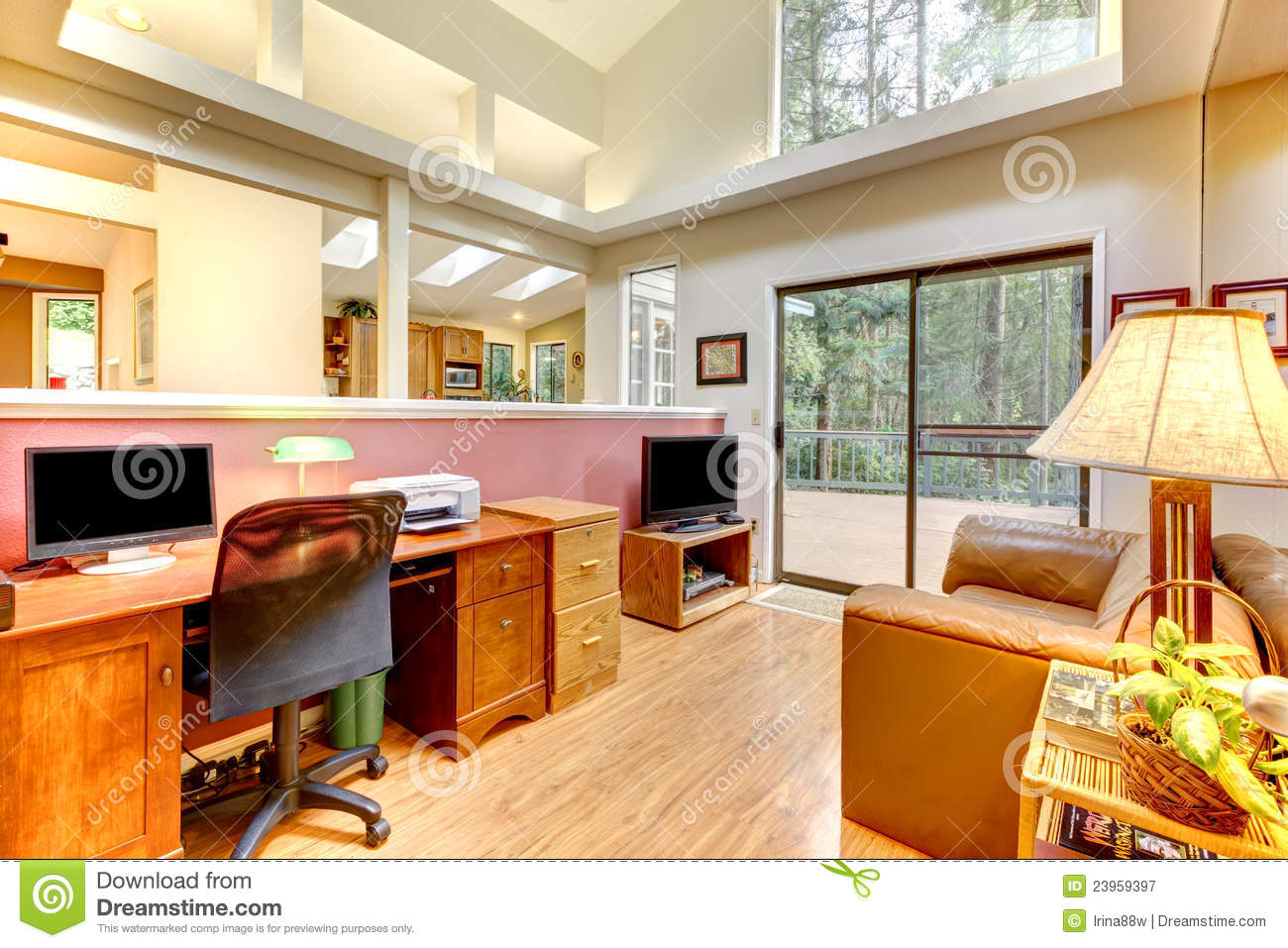 Home office interior with large windows stock image for Large home office