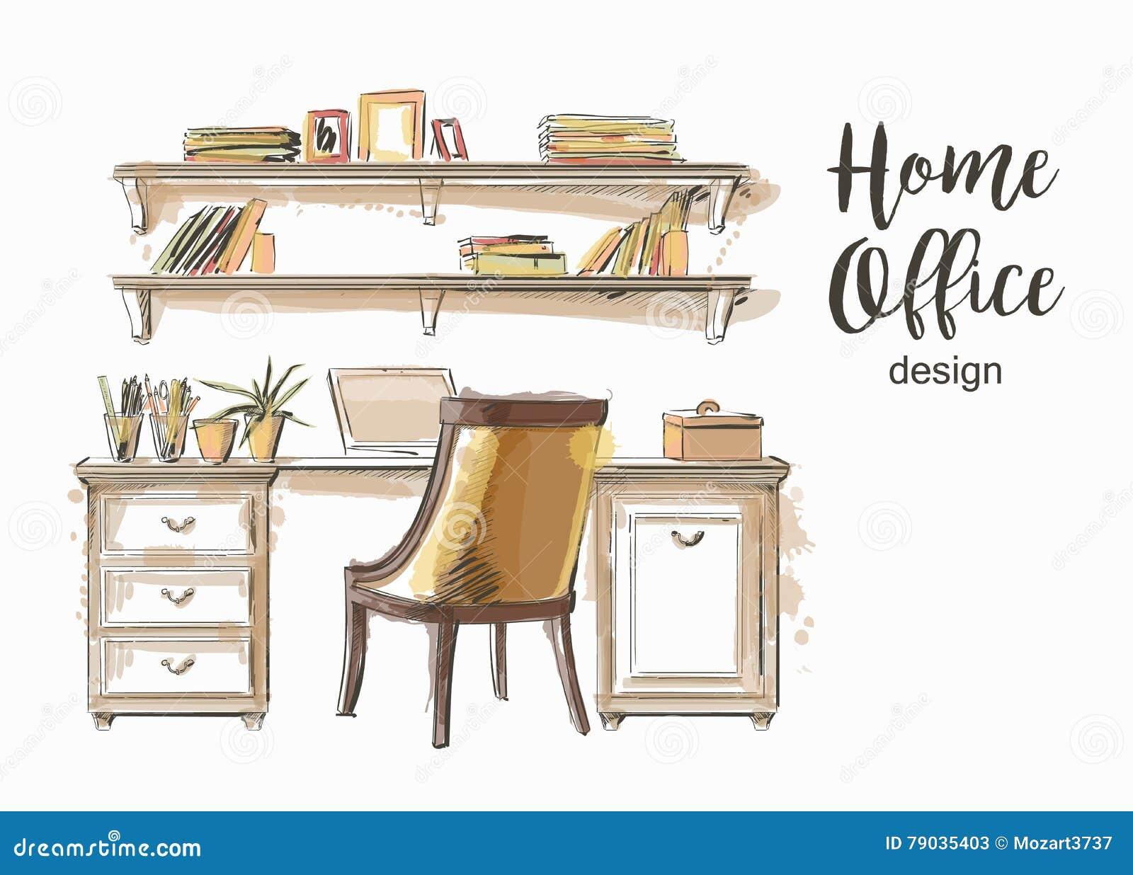 Interior wooden shelves free vector - Home Office Interior Stock Vector