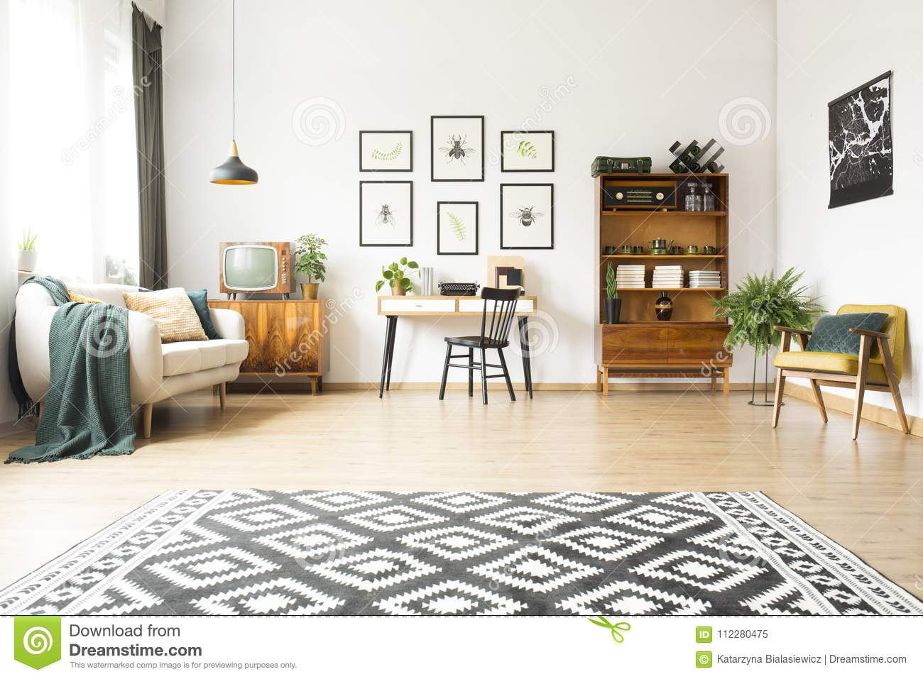 Home Office And Living Room Stock Image - Image of hipster, curtains ...
