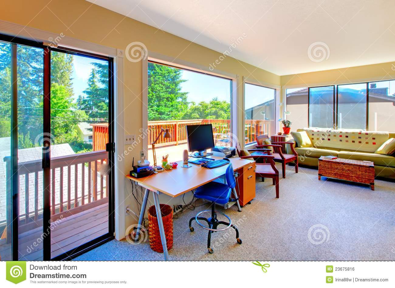 Home Office And Living Room House Interior With Balcony ...