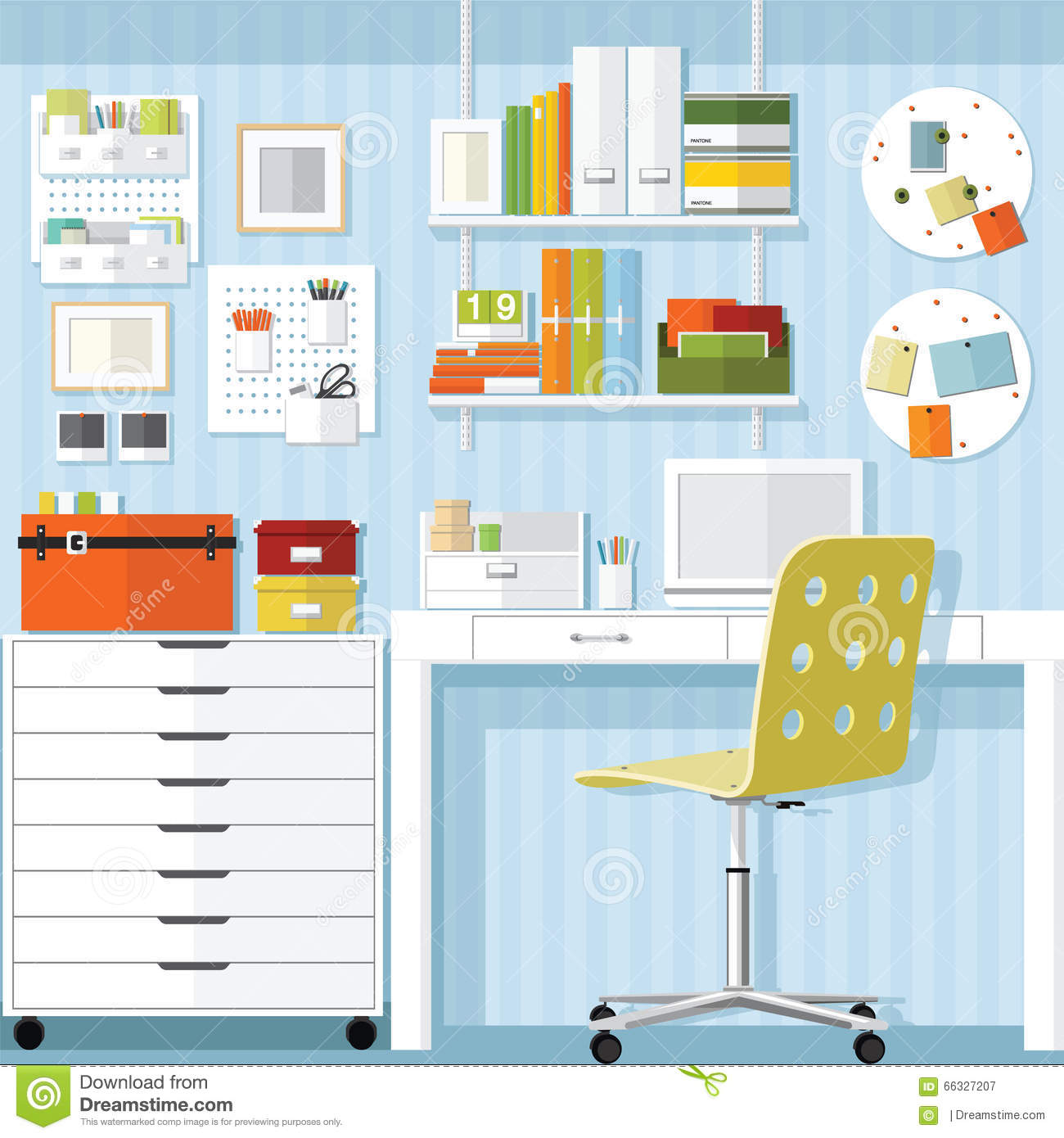 Home office office furniture store stock vector image for Office design vector