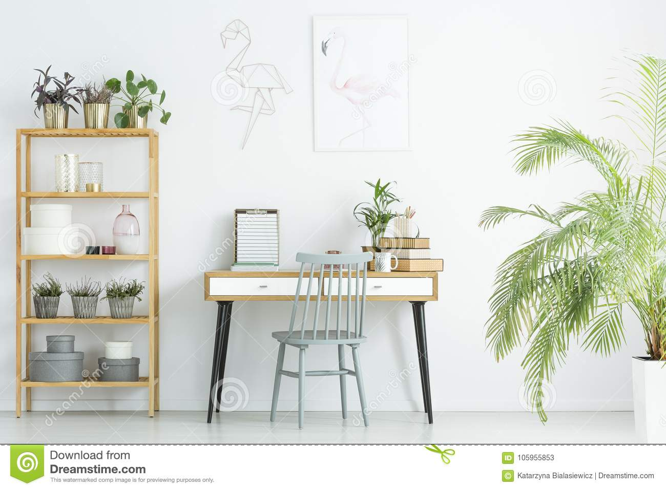 Home office with plants stock image. Image of boxes - 105955853