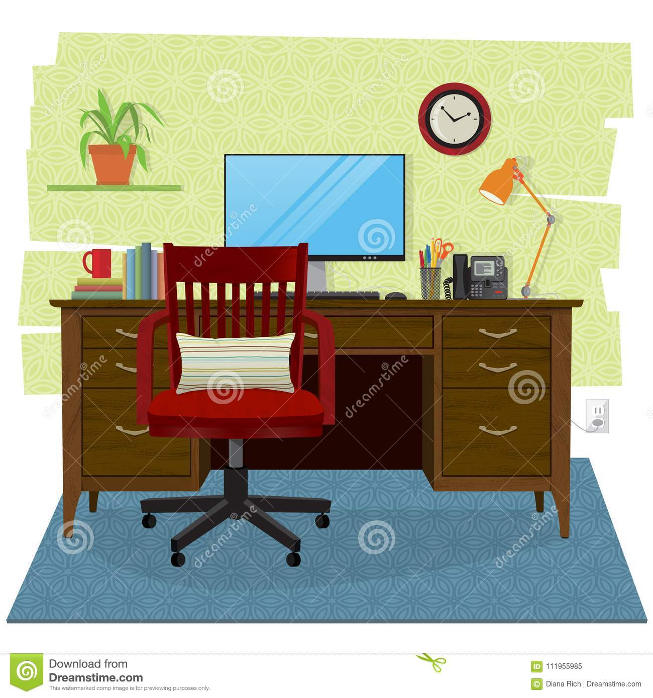 Home Office Scene With Computer Wooden Desk And Chair Stock Image