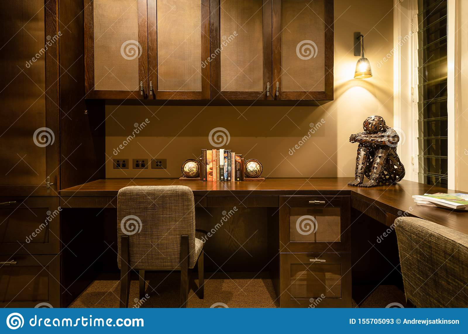Home Office Space Or Study With Desks Chairs Lights Cabinets And Furnishings Editorial Stock Photo Image Of Home Cupboards 155705093